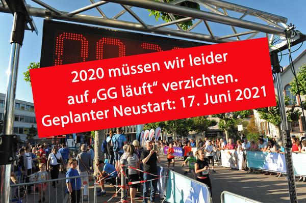 """Szenenfoto des Stadtlaufs """"GG läuft"""" mit Banner zur Absage im Jahr 2020."""